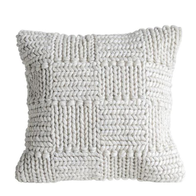 "20"" Square Knit Wool Pillow in Cream"