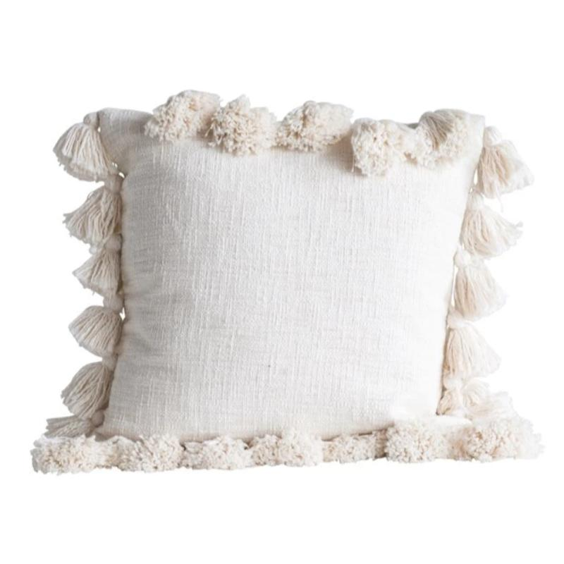 "18"" Cream Tassel Pillow"