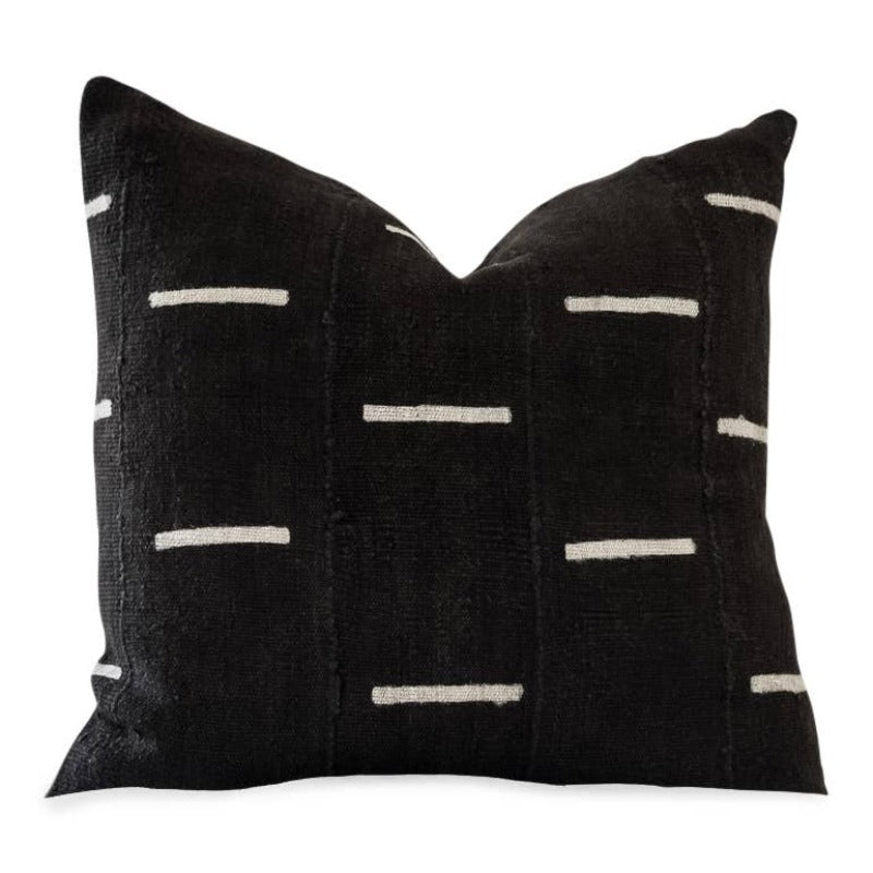 20x20 Black & Cream Davu Pillow with Insert