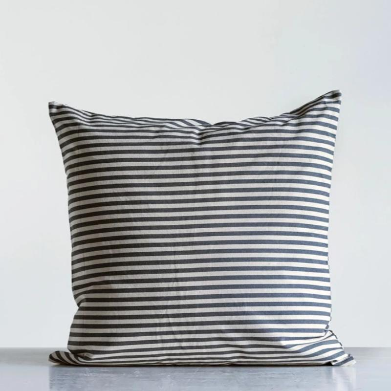 "24"" Square Cotton Ticking Stripe Pillow"