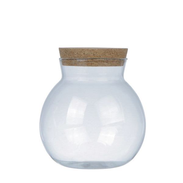 "5"" Round Glass Jar with Cork Lid"