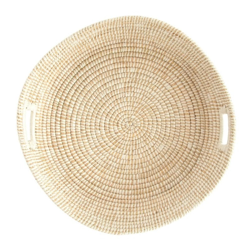 "24"" Round Hand-Woven Grass Basket Tray with Handles, Natural & White"