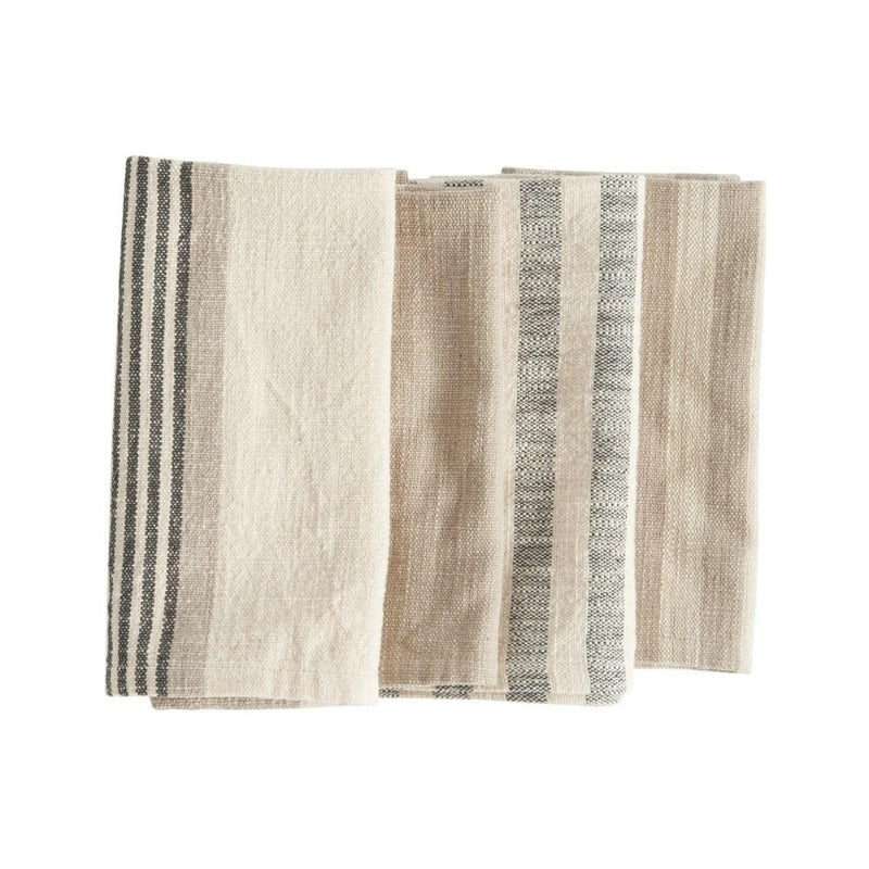 Cotton Stripe Napkins, Set of 4 Taupe, Black, Cream