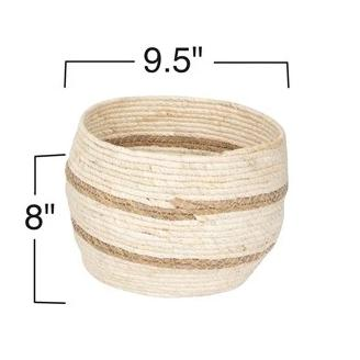 Round Cream Maize Basket with Stripes