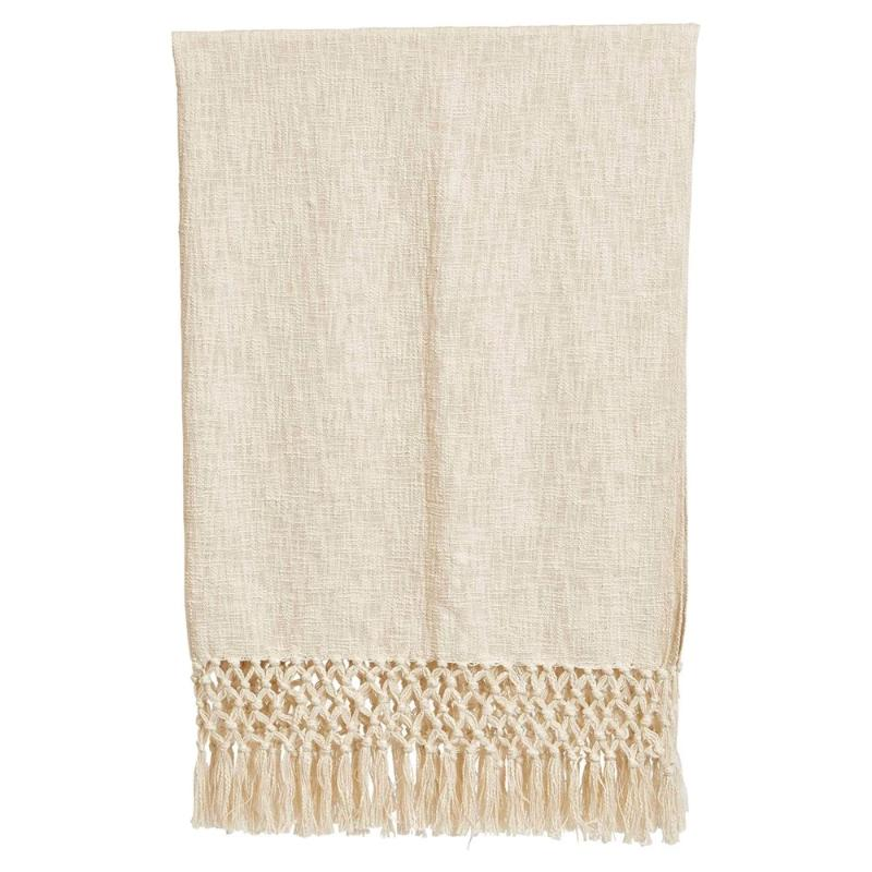 "Cream Woven Cotton Throw with Crochet & Fringe- 50""L x 60""W"