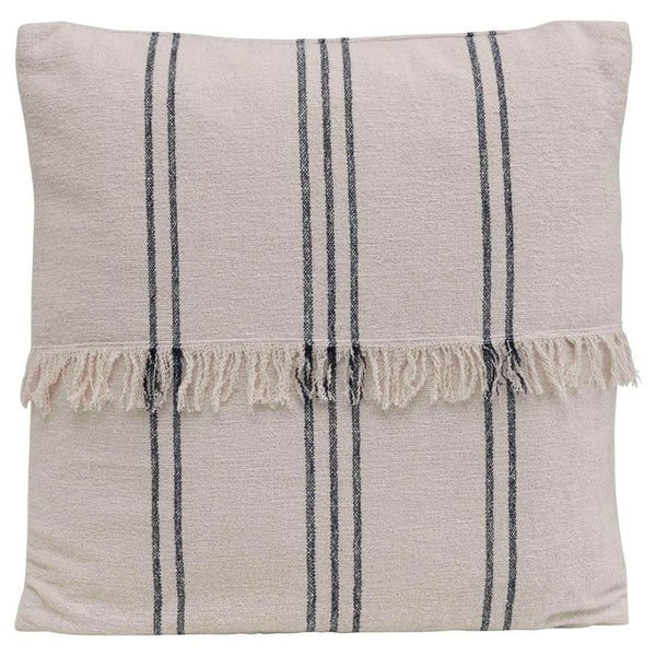 "22"" French Stripe Pillow with Fringe- Natural & Navy"