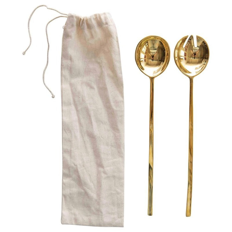 Brass Salad Servers- Set of 2 in Drawstring Bag