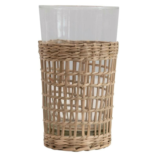 12 oz. Drinking Glass w/ Woven Seagrass Sleeve