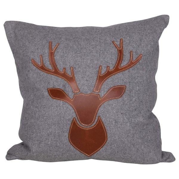 "18"" Gray Flannel with Leather Deer Applique Pillow"