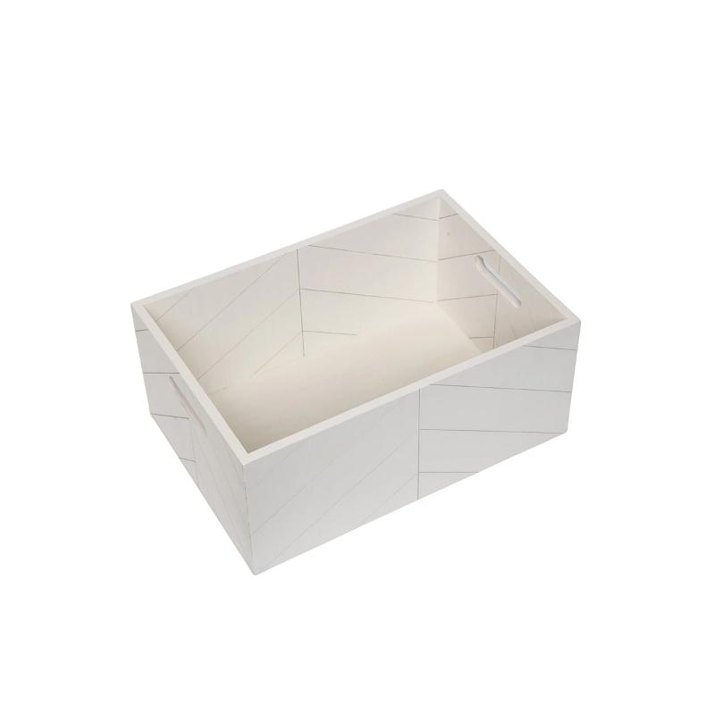 White Wooden Storage Crate- Modern Routed Pattern