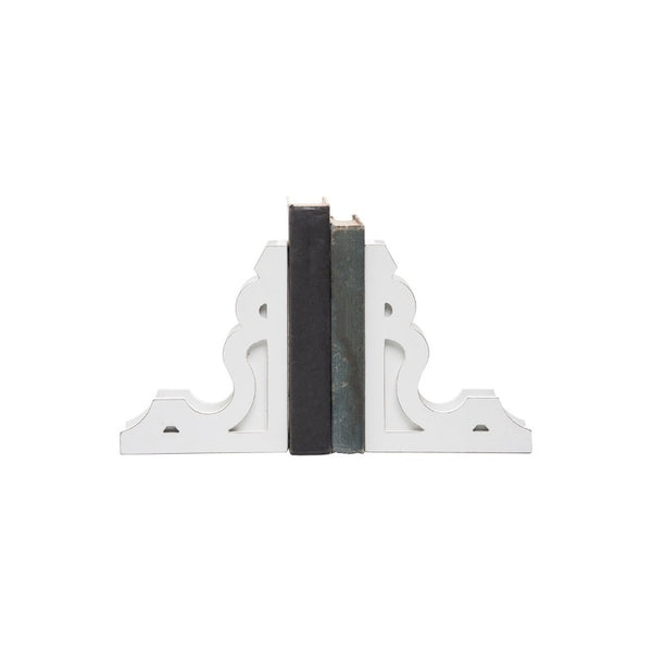 White Wood Corbel Bookends (Set of 2)
