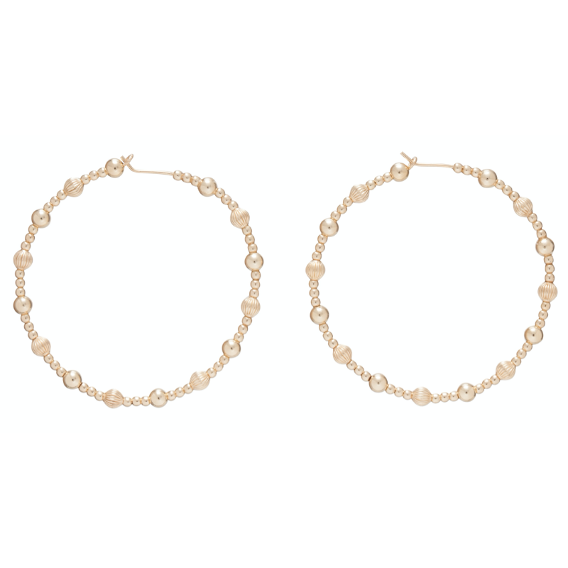 "Beaded 1.75"" Hoop-Dignity Gold Sincerity Pattern"