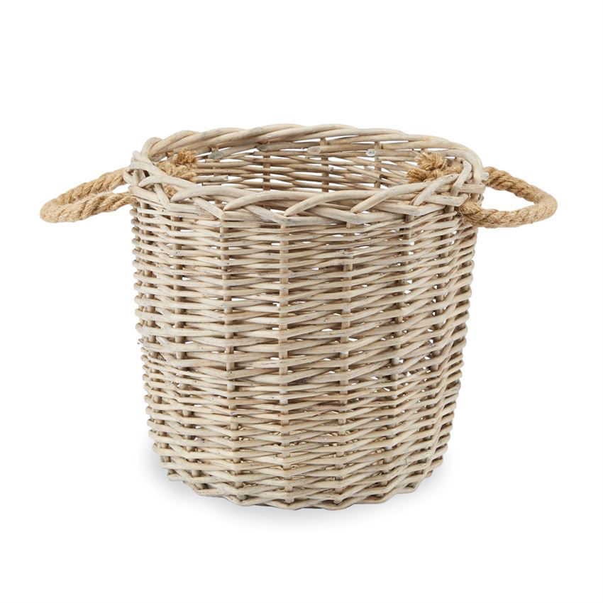"12"" Sm Wicker Basket with Rope Handles"