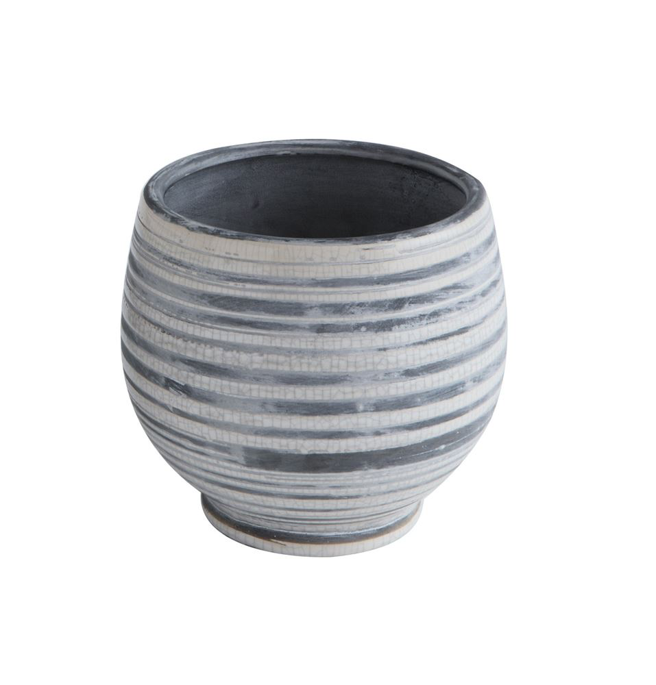 Grey & White Striped Stoneware Planter
