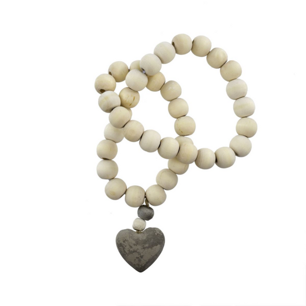 White Prayer Beads with Grey Heart