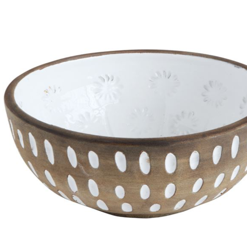 Round Decorative Bowl with White Accents- 10""