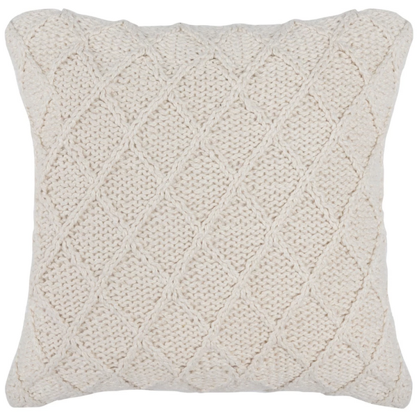 Ivory Knit Diamond Pillow-20x20