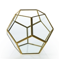 "Gold/Glass Octagon Display Box-7.5""x7.5""x6"""