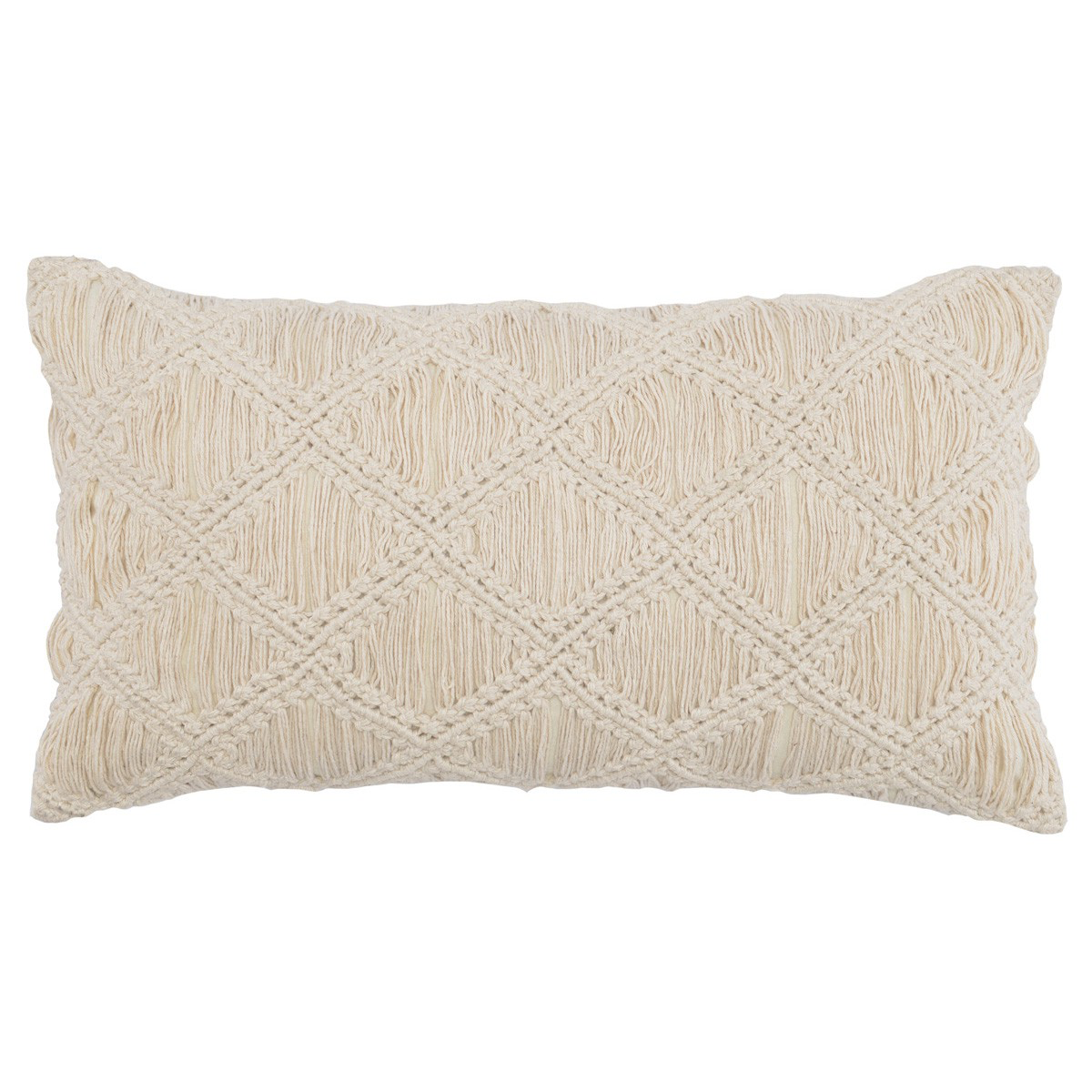 Natural Macrame Diamond Lumbar Pillow- 14x26""