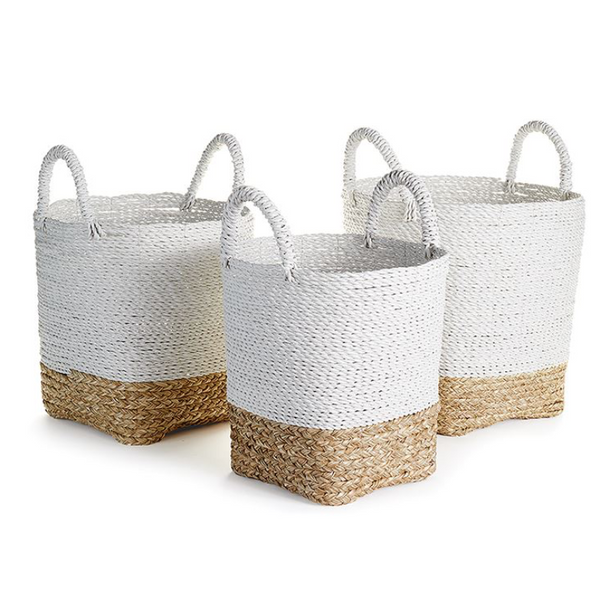 Market Basket With Handles in White & Natural (Set of 3) DS Only