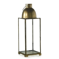 Gold Dome Glass and Brass Tall Lantern   (Available in 2 Sizes)- DS Only