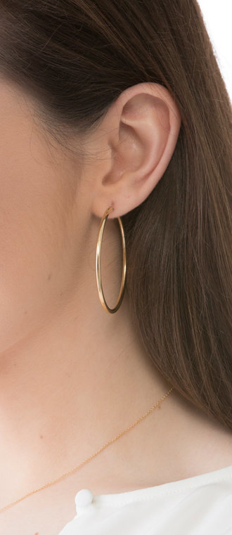 Round Gold Hoop Earring - Smooth