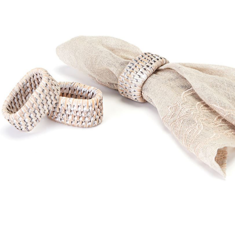 Whitewashed Rattan Napkin Ring