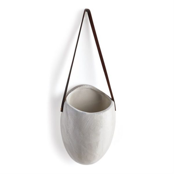White Wall Planter with Leather Strap