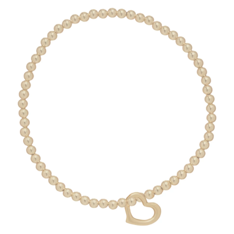 Classic Gold 3mm Bead Bracelet- Love Gold Charm