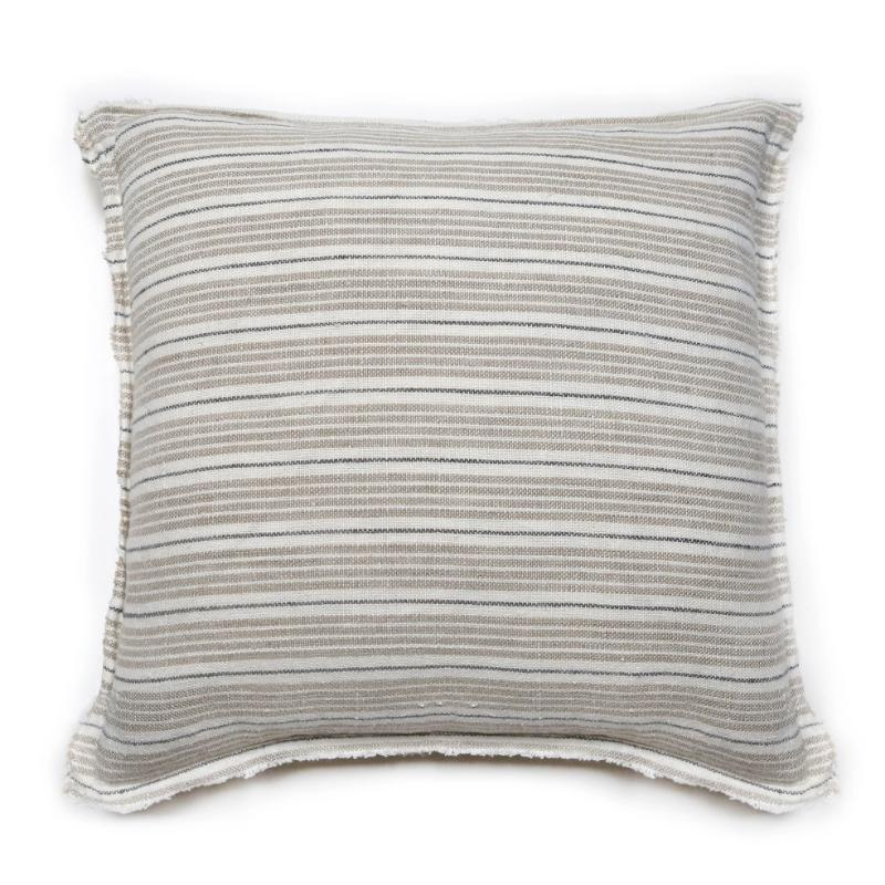 "20x20"" Natural and Midnight Stripe Pillow"