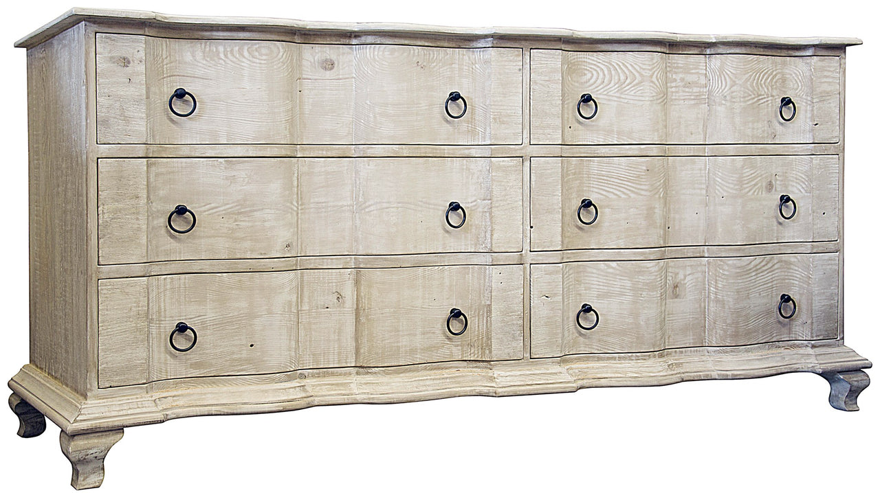 "Reclaimed Six Drawer Dresser Grey Wash Wax 80""w x 22""d x 36.5""h"