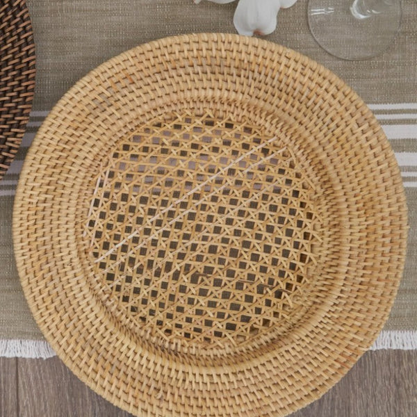 "13"" Natural Handmade Rattan Charger"