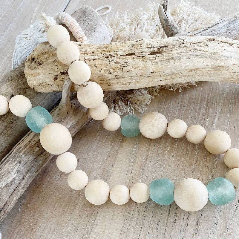 Aqua Sea Glass & Wood Bead Garland