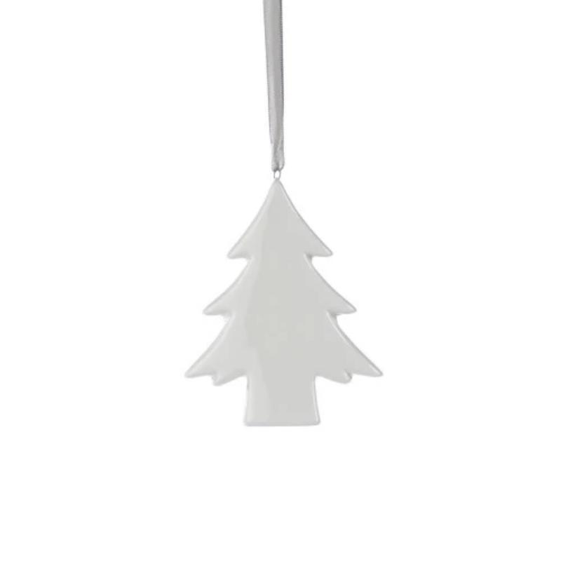 Short Ceramic Tree Ornament- White