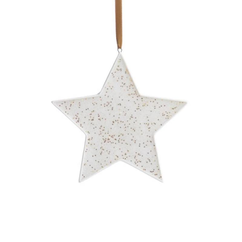 Speckled Star Ornament- White and Gold