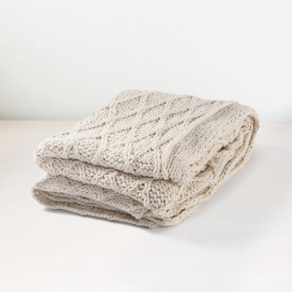 Hand Knit Diamond Pattern Throw