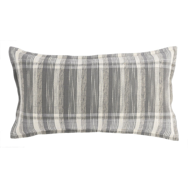 Grey/Ivory Plaid Lumbar Pillow- 14x26""