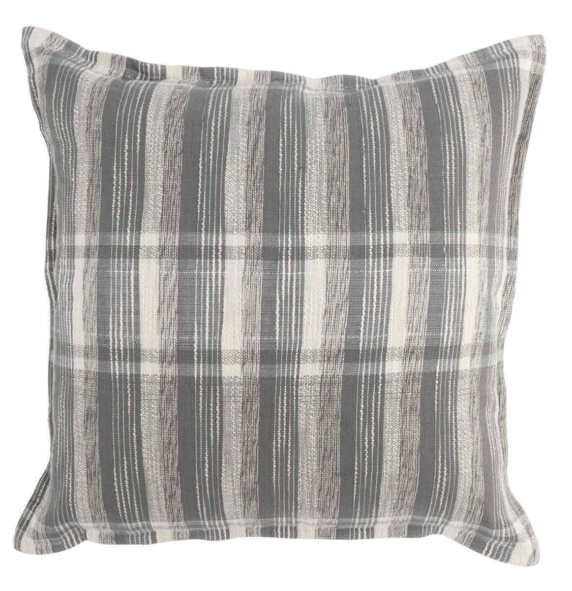 "22""x22"" Gray/Ivory Plaid Pillow"