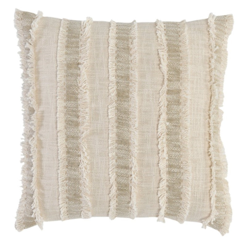 22x22 Natural & Ivory Fringe Stripe Pillow