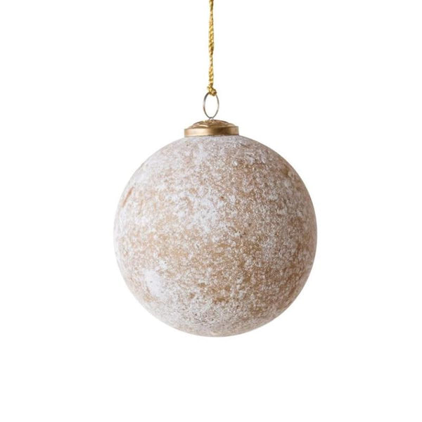 Round Glass Ball Ornament in Distressed Gold Finish