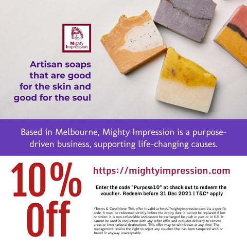 Use the code purpose10 for 10% the store Mighty Impressions Soap