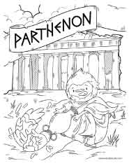 Free printable of the Greek Parthenon