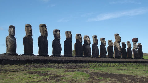 Moai of Rapa Nui (Easter Island) on an ahu