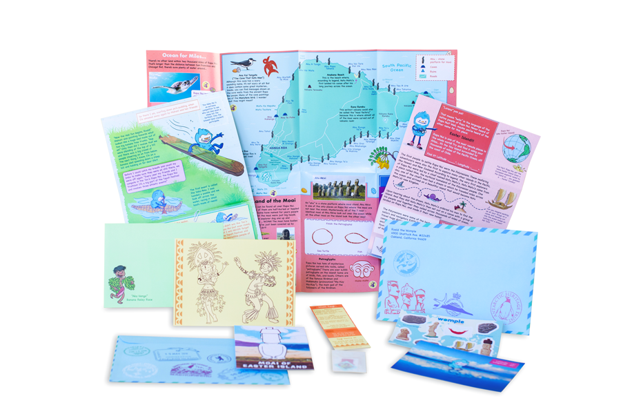 Monthly packages include letters, re-stickable stickers, fold-out maps, activities and crafts, snail-mail and mailtag materials, custom cards, postcards, and more.