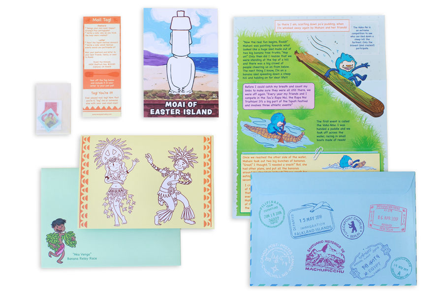 Second delivery: adventure story, snail-mail and mailtag materials, custom travel-themed card and postcard, and postal stamps