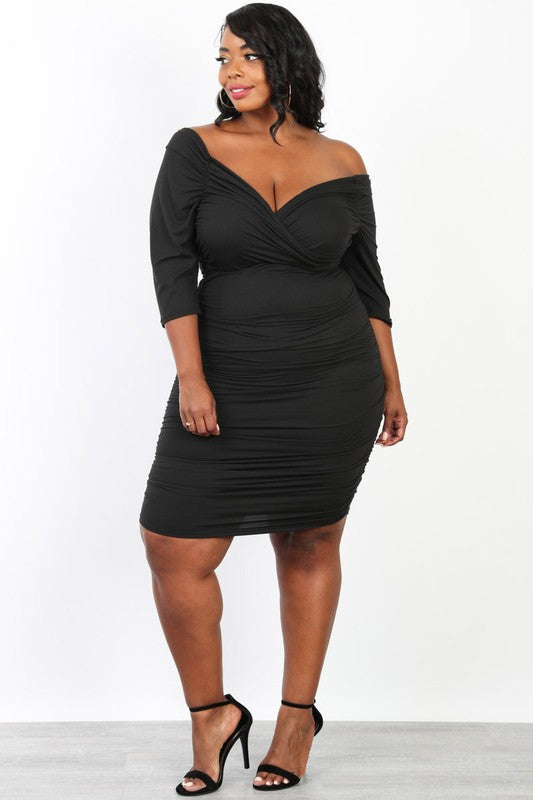 Curvy Black Off Shoulder Bodycon Dress