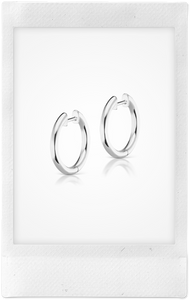 Traditional Espionne, 14K White Gold Hoops, 13mm