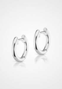 Traditional Espionne, 14K White Gold Hoops, 8mm