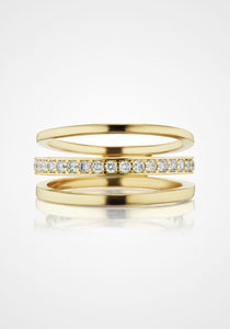 Espionne III, 14K Yellow Gold + Diamond Pavé Ring
