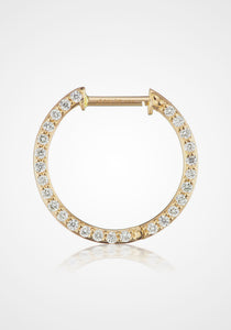 Monterey, 14K Yellow Gold + Diamond Pavé Hoops, 12mm